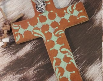 Leather Cowboy Cross/ Horse Saddle Cross/  Hand Painted Horse Cross/ Beaded Horse Cross/Hand Tooled Horse Cross/ Rear View Mirror Cross/