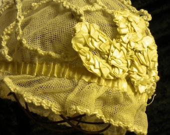 Night bonnet antique Ribbon Work and Crochet (FFs1173)