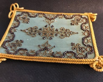 Calling Card holder with bronze and gold beading (FFs1077a)