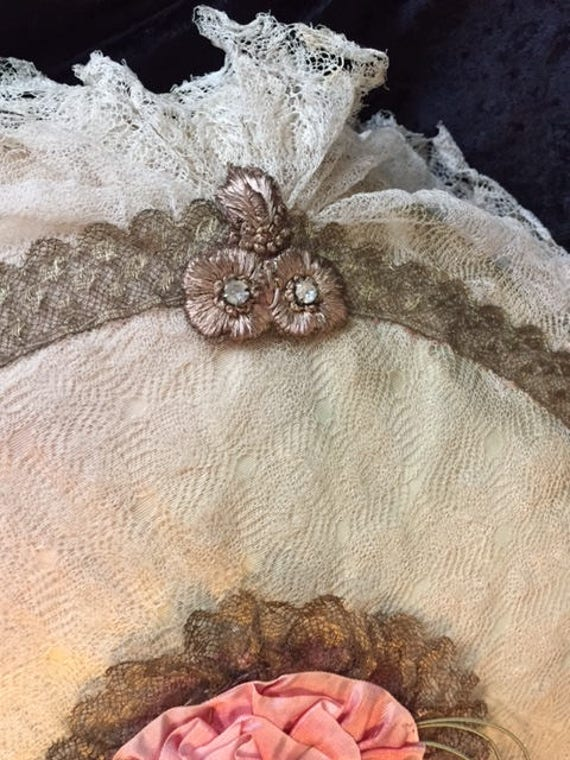 Designer Large Round Boudoir Pillow in Vintage Lace FFs5060 Ribbonwork and Gold Trim Accents