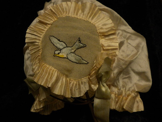 Night Cap Circa 1920's Silk Dainty Cap with Two Bl