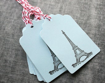 Eiffel Tower Paper Tags Paris Tags, Gift Tags Gift Tags with Baker's Twine Stamped Tags France Gift Wrap