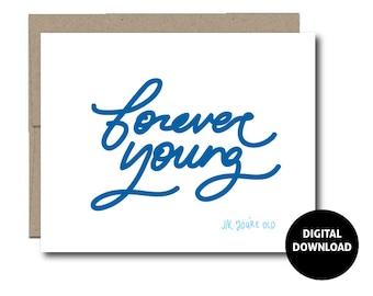 DIGITAL DOWNLOAD   Greeting Card   Birthday Card   Instant Download   Paper Goods   PDF Printable   Handwritten   5x7