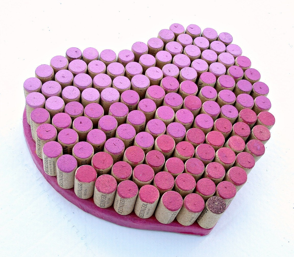 Cork Art Wedding: Wine Cork Heart For Your Wedding Decor Ombré Pinks