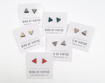 0dbdb49650c2 Triangle Stud Earrings | Assorted Colors - Nickel-Free | Wood Post Earrings  | Modern Studs | Simple Stud Earrings