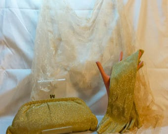 Vintage 1950s 3 Piece Evening Set Gold Lurex Clutch Matching Gloves and Lace Head Scarf