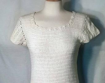Vintage 1920s White Crochet Shift Dress Drop Waist and Short Sleeves
