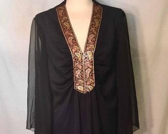 1970s High Waisted Black Maxi Evening Wear Sheer Chiffon Kimono Sleeves with Brocade Paisley Trim