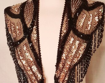 Black and Gold Beaded Sequins Costume Shawl or Hip Wrap with Beaded Fringe