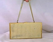 Vintage 1950s Gold Tone Faux Pearl Panel Carryall with Wrist Snake Chain Lipstick Case and Money Compartment
