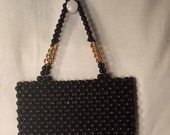 Mod 1960s Vintage Beaded Black Plastic and Metal Chain Double Handle Handbag