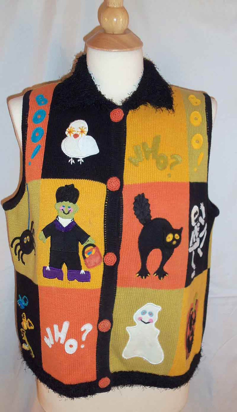 Halloween Themed BellPointe Ugly Sweater Vest with Embroidery image 0