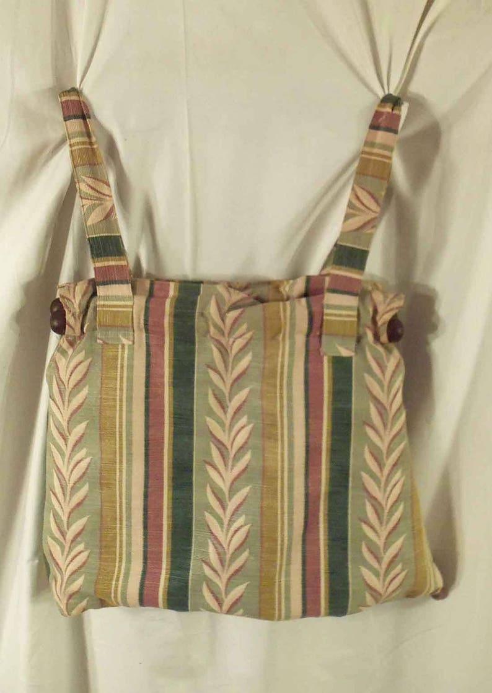 Handmade Tote Bag Handbag Vintage Barkcloth Laurel Leaf and image 0