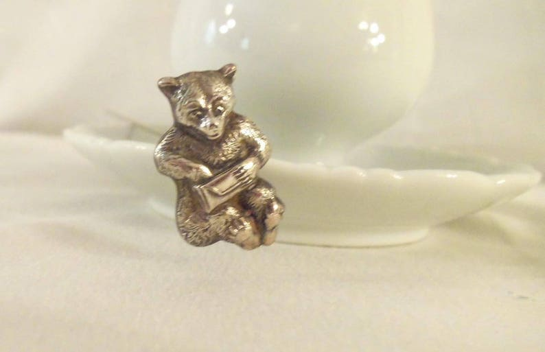 Silver Plate Antique 1910 to 1920s Hat Pin Animated Sitting image 0