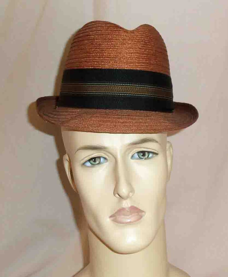 Vintage 1960s Cabot Rust Red Mens Straw Fedora Hat with a image 0