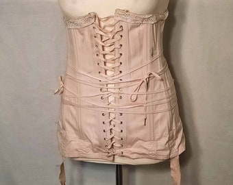 1930s Vintage NRA or National Recovery Act Label Pink Corset Adjustable Size with Garters