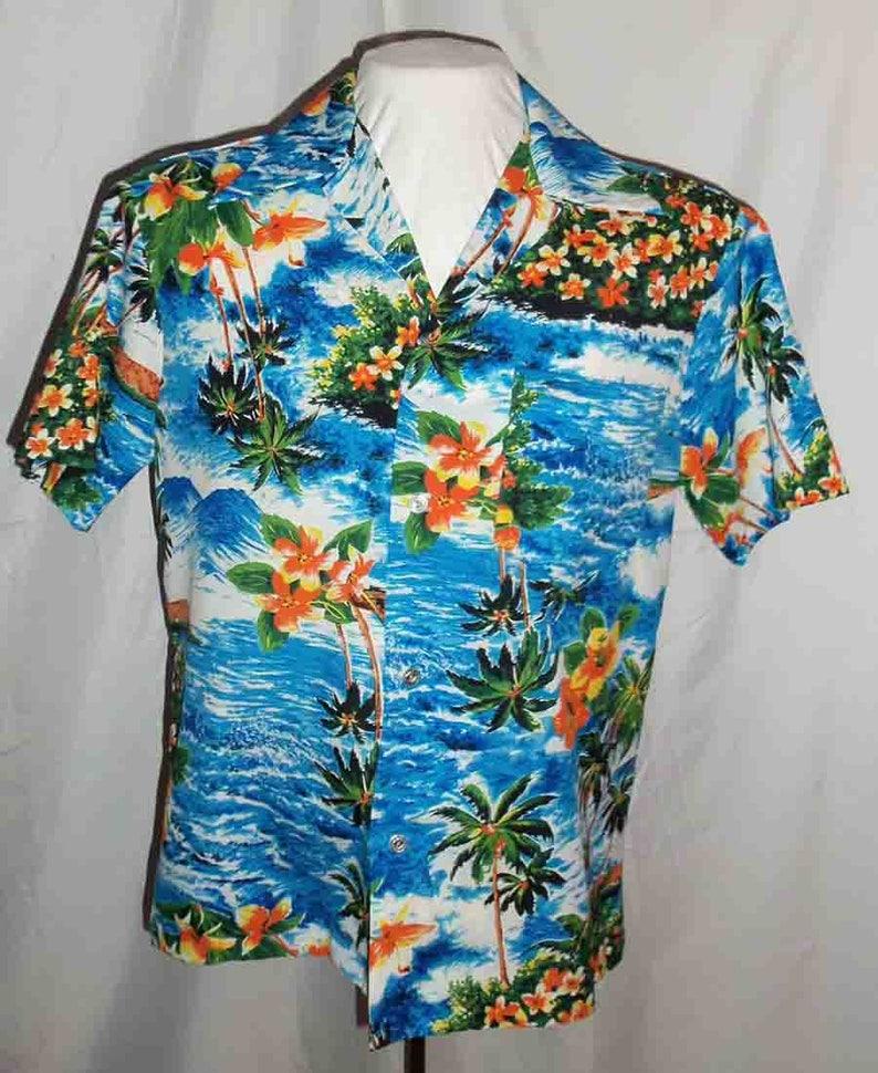 1970s Royal Hawaiian Aloha Shirt Blue White Waves Palm Trees image 0