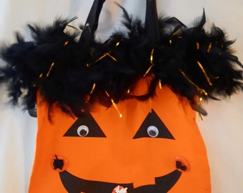 Up Cycled Halloween Trick-r-Treat Shopping Bag 100% Cotton Pumpkin w/ Feather Black and Gold Boa Witch Buttons and Googly Eyes