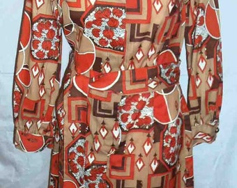BoHo Vintage 1970s Long Sleeved Mini Shirtdress Geometric Print Goldenrod with Orange Black and Browns