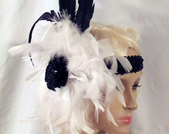 Handmade Black and White Feather Headband with Black Sequin Applique on a White Pom Pom and Tall Black Coque Feathers
