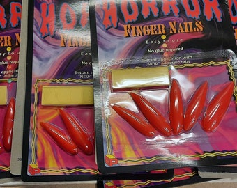Vintage Collectible Halloween Wearable Horror Blood Red Finger Nails with Adhesive Tabs on Original Hanger Card