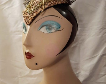 Leopard Print Costume Headpiece Upcycled with Feathers and Rhinestone Brooch