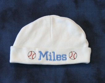 Personalized Newborn/Infant Beanie Hat, Sports Themed