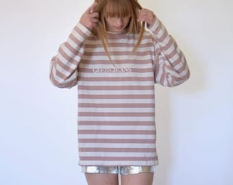 90s Pink Striped Guess Jeans Oversized Mock Neck Sweatshirt xs s m