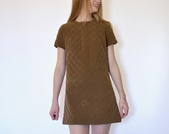 60s Mod Brown Quilted Micro Suede Short Sleeve Mini Dress xs s