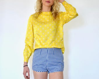 60s Silky Yellow White Polka Dot Long Sleeve Button Back Blouse xs s m