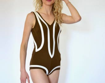 50s Brown White Sporty Retro Racing Stripe Cheeky Boyleg One Piece Swimsuit xxs xs
