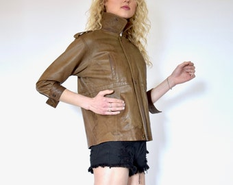 80s Distressed Brown Leather Cropped Motorcycle Jacket xxs xs s
