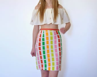 60s Colorful Dash Stripe Print High Waisted Pencil Skirt xs s