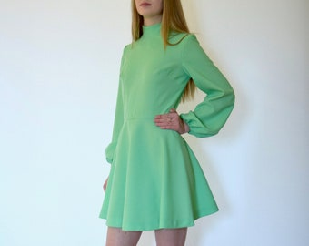 70s Lime Green Balloon Sleeve Polyester Knit Mini Skater Dress xs s m
