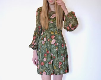 70s Retro Green Floral Print Balloon Sleeve Polyester Mini Dress xs s
