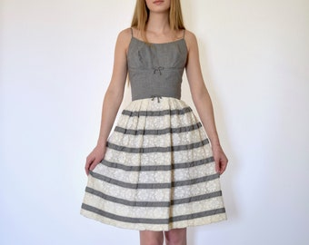 50s Black White Gingham Lace Stripe Fitted Structured Classic Dress xxs xs