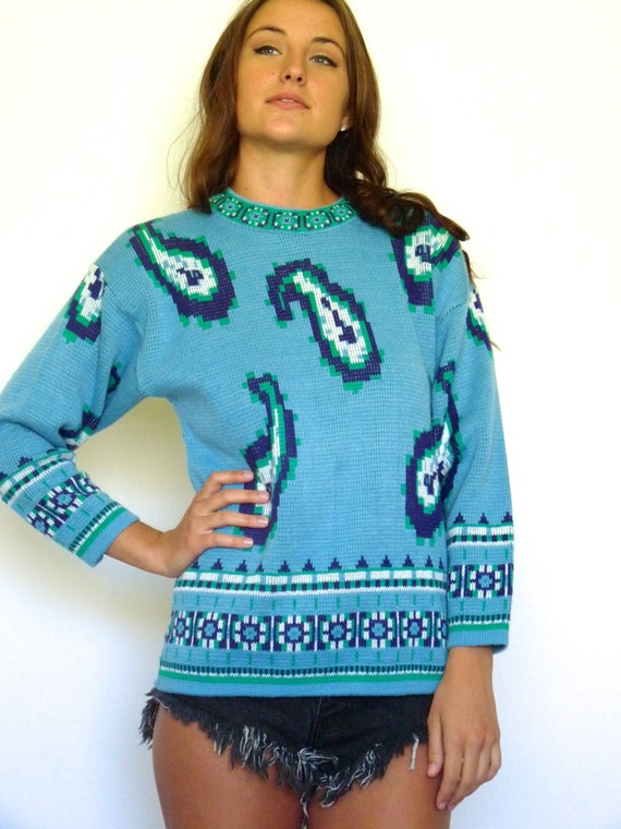 60s Nordic Blue Pixelated Paisley Print Sweater x… - image 4