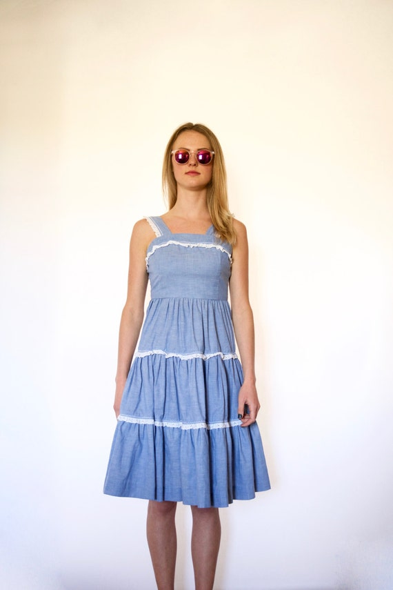 70s Tiered Chambray Prairie Tank Top Sun Dress xxs