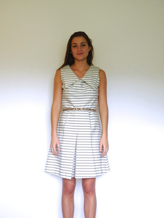 50s Cream Nautical Striped Oversized Collar Romper