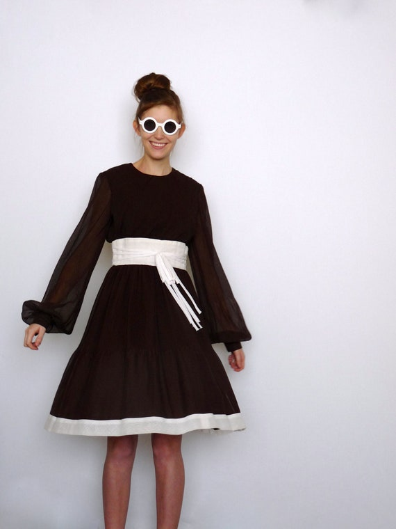 60s Chocolate Brown Poet Sleeve Pleated Full Skirt