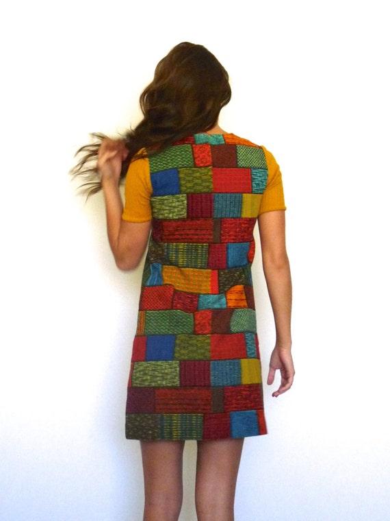 60s Retro Tapestry Patchwork Bricks Babydoll Mini… - image 5