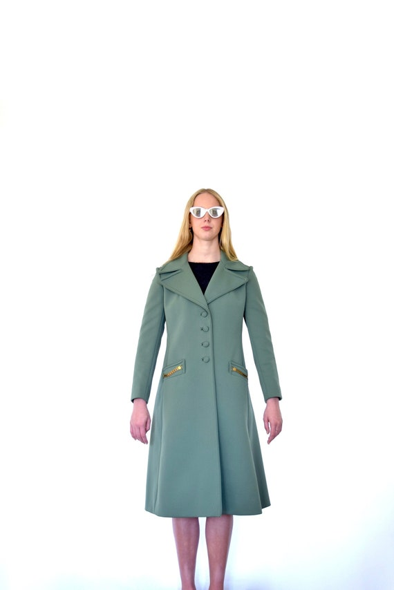 60s Lilli Ann Army Green Polyester Knit Wide Lapel