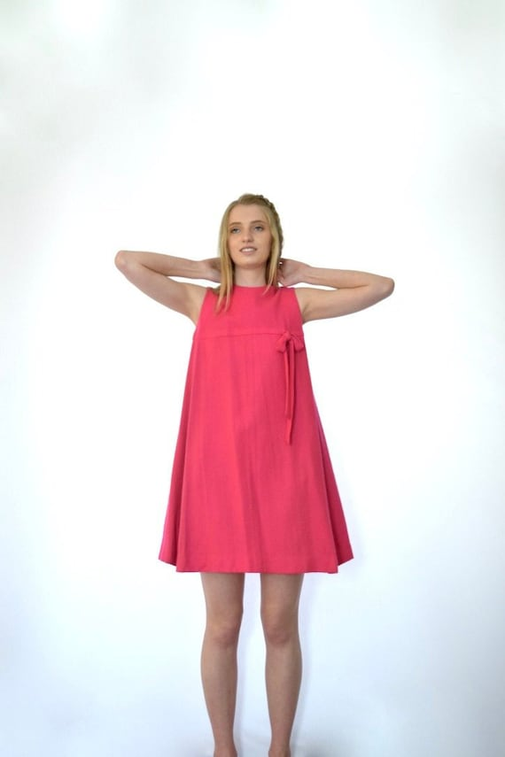 60s Hot Pink Sleeveless Wool Babydoll Mini Tent Dr