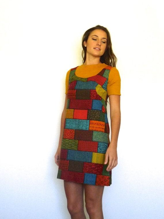 60s Retro Tapestry Patchwork Bricks Babydoll Mini… - image 1