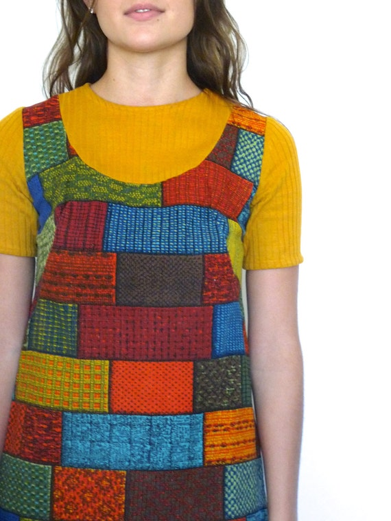 60s Retro Tapestry Patchwork Bricks Babydoll Mini… - image 4