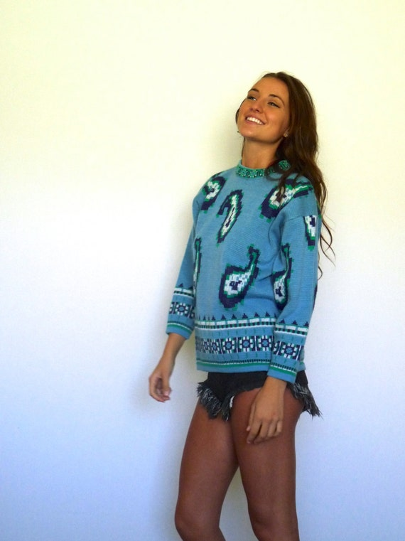 60s Nordic Blue Pixelated Paisley Print Sweater x… - image 3