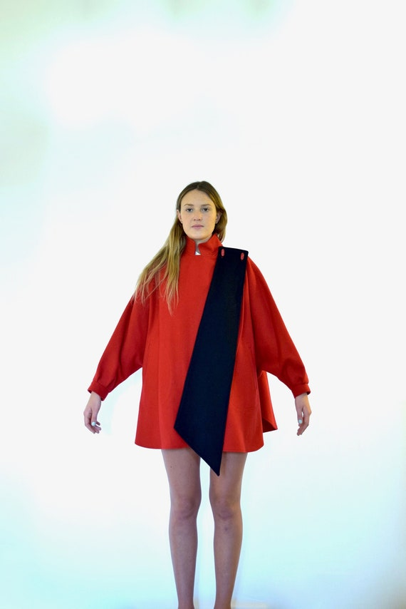 80s Billycoat Color Block Red Black Military Dolma