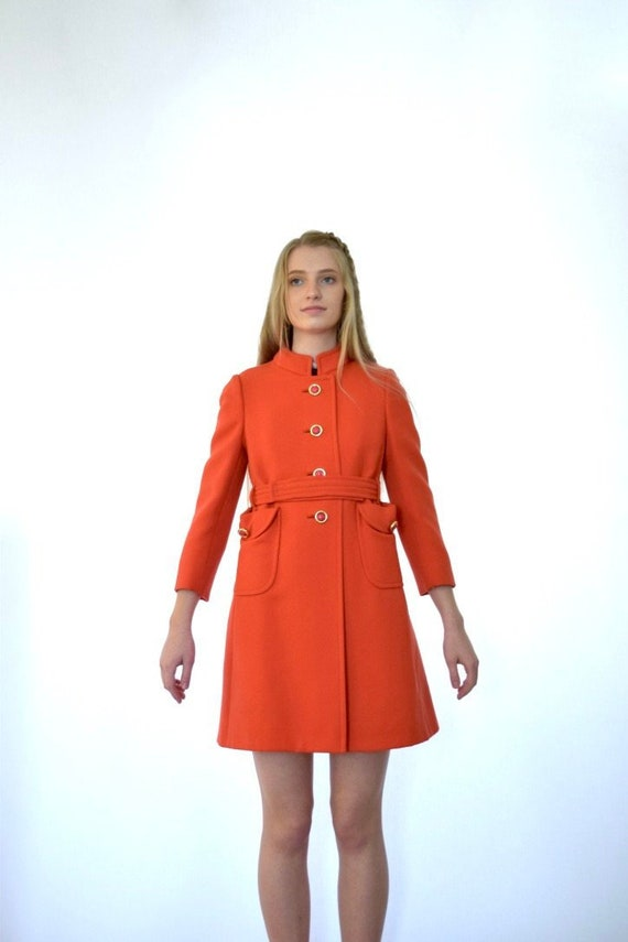 60s Mod Pauline Trigere Red Wool Knit Belted Trenc