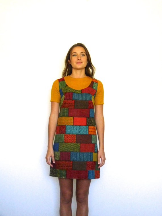 60s Retro Tapestry Patchwork Bricks Babydoll Mini… - image 2