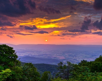 Shenandoah Sunset, 8x10 Fine Art Color Photograph